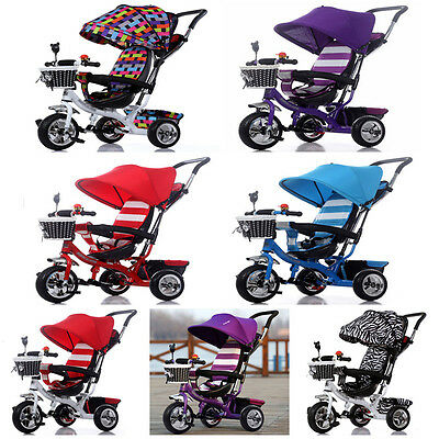 6 Colors Durable Baby Child Tricycle Pram Outdoor Sunshade Push Ride Toy Bike
