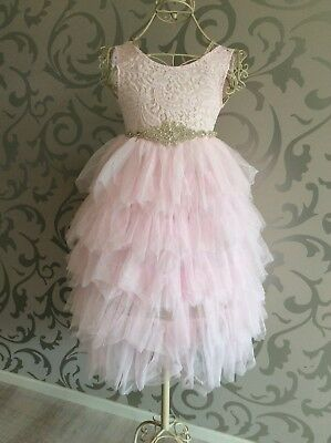Girls Flower girl Dress Party Special Occasion Baptism Vintage Lace Sequin tutu
