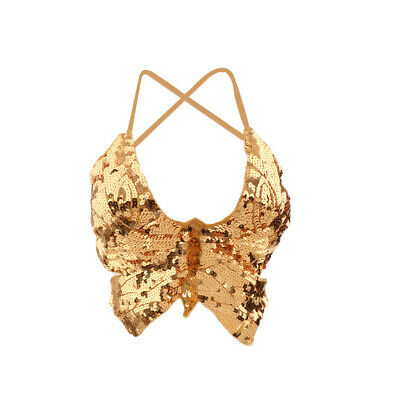 Phenovo Belly Dance Wear Butterfly Top Bra Sexy Dancing Costume Stunning Sequin