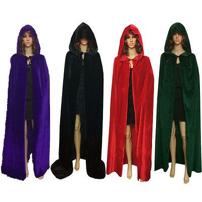 Hooded Cape MEDIEVAL Wedding Velvet Cloak Coat Shawl Robe Halloween Fancy Dress
