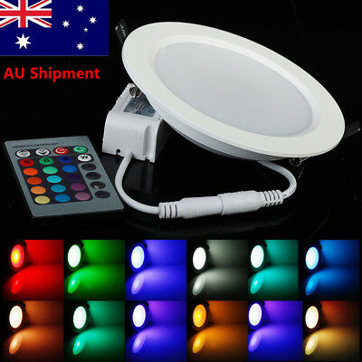4pcs RGB Color Changing LED Recessed Ceiling Lamp Down Light+ IR Remote Control
