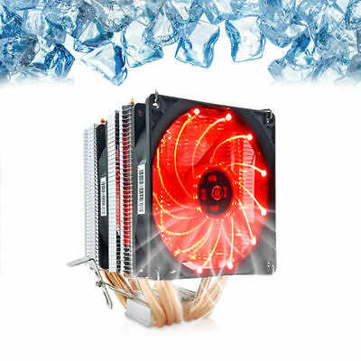 Dual Red LED Fan CPU Cooler Heatsink 6 heat pipes for Intel LGA and AMD CPUS