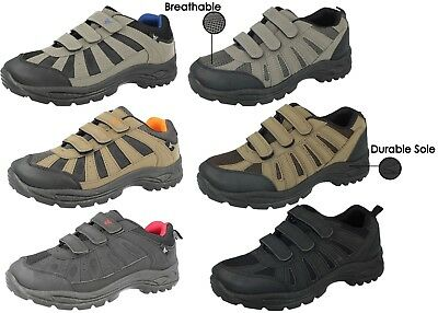 Mens Hiking Trail Walking Trekking Style Hook And Loop Trainers Shoe Size UK
