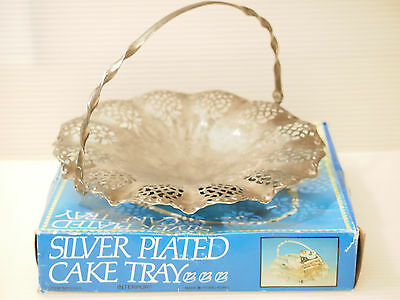 VTG Silver Plated Cake Tray/ Basket Fluted Pierced Engraved Swing Folding Handle