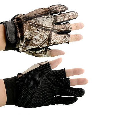 1 Pair 3 Cut Finger Anti Slip Camo Camouflage Fishing Fish Gloves Tackle