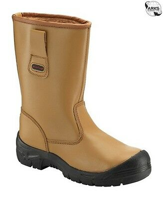 WORKTOUGH Rigger Boots with Scuff Cap - Tan - UK 7 - 118SCM07