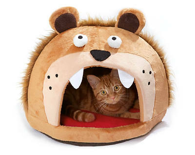 Lion's Head Cat Bed Self Heating Cushion Tongue Pet Feline Cave Mat House Igloo