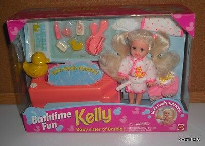 ALL NEW NRFB BARBIE 1995 BATHTIME FUN KELLY PLUS OVER 10 OUTFITS