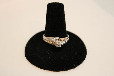 Ladies Black Hills Gold on Sterling Silver Cubic Zirconia Ring - Size 9 - NEW