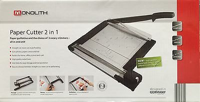 Monolith Paper Cutter & Guillotine 2in1 With 3 Rotary Trimmers NEW-24Hr Delivery