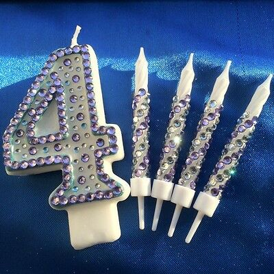 Number Four Birthday Candle Diamante Candle Set Fourth Party Cake Topper