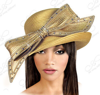 Turned-Up Brim Hat With Signature Rhinestoned Bow Maize/Gold CLEARANCE