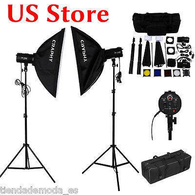 Photo Flash Kit 5600K Photography Studio Strobe Light Umbrella Softbox Stand