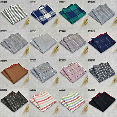 Men Pocket Square Handkerchief Cotton Solid Stripe Check Hanky Party