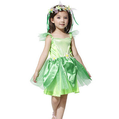 Child Elf Fancy Dress Girl Halloween Costumes Tinkerbell Fairy Outfits Suit New