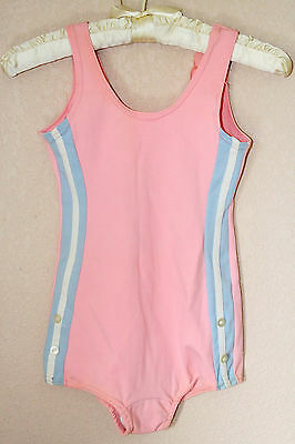 Vtg 50s Handmade Pink Onepiece Girl Swimsuit