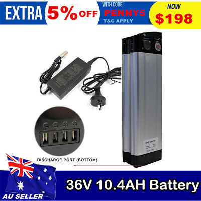 Silver 36V 10.4Ah Rechargeable Lithium Li-ion Battery EBike Batteries + Charger