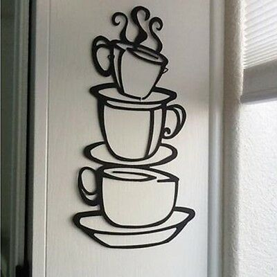 3D PVC Removable Home Decor Dining Room Coffee Cup Vinyl Art Mural Wall Stickers
