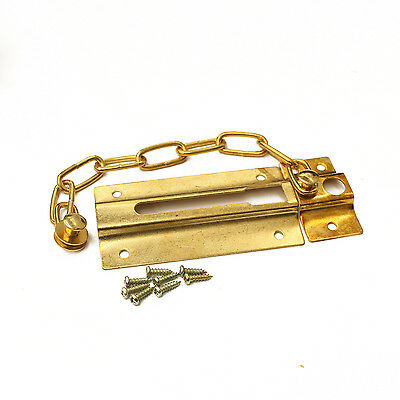Security Door Chain Guard Lock Latch Sliding Home Office 85x45mm Polished Brass