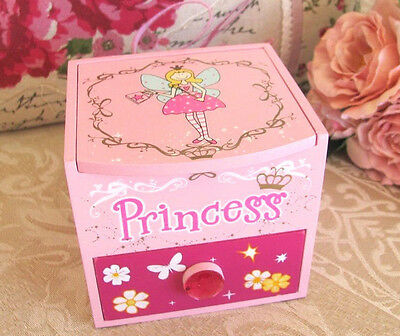 Wooden Girls Childs Square Princess Pink Jewellery Fairy Box With Draw