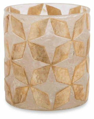 Round Capiz and Glass Votive Candle Holder - Brown