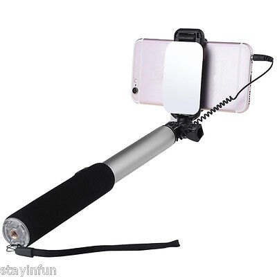 Portable Selfie Stick Monopod Wire Control Camera Shutter with Rearview Mirror