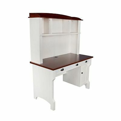 NEW Huali Hawkesbury Office Desk & Hutch, Antique White