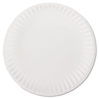 """AJM Packaging {PP9GREWH} 9"""" White Paper Plates Green Label (10 Packs of 100)"""