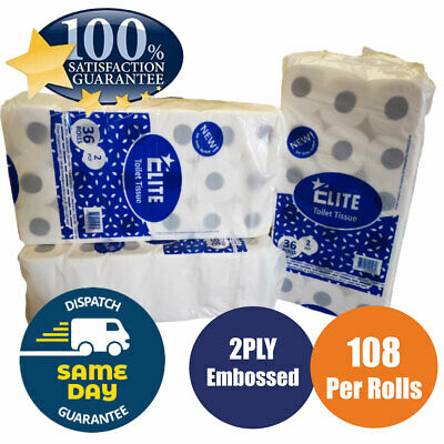 108 Toilet Rolls 2 Ply 200 Sheet 2Ply Tissue Luxury Quilted Paper 3 Cases Jumbo