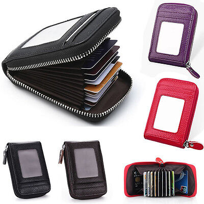 Mens Womens Mini Slim Leather Wallet ID Credit Card Holder Case Organizer Purse