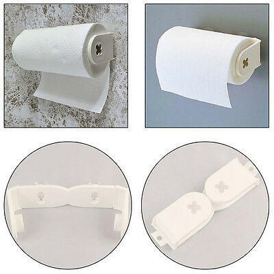 Paper Towel Holder Rack under Cabinet Plastic Wall Mount Suction Cup Hook White