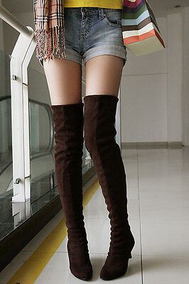 Womens Faux Suede Kitten Heel Thigh High Stretch Over Knee Boots Shoes