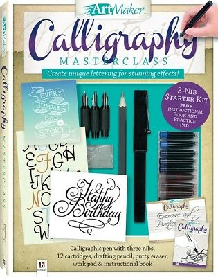 Art Maker Complete Calligraphy Kit,  48 Page book, 3 Nibs, 12 Inks, Scratch Pad