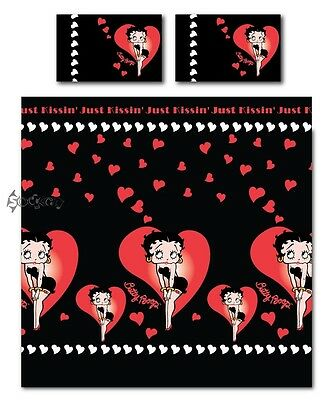 Betty Boop Just Kissing Hearts Double Duvet Bed Set