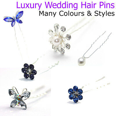 Wedding Hair Pins Ladies Bridal Accessories Pieces Diamante Pearl Flower Clips