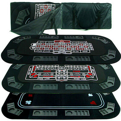 Poker Craps Roulette Table Top 3 in 1 Folding Portable Casino Games Party New