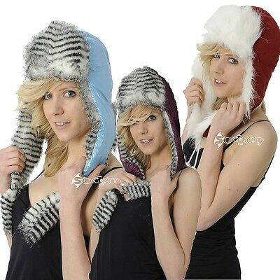 Ladies Long Trapper Hats with Pom Poms 3 Styles Faux Suede Metallic Winter Gift