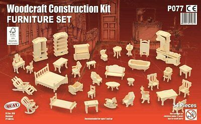 Furniture Set: Woodcraft Quay Construction Wooden 3D Model Kit P077 Age 7 plus