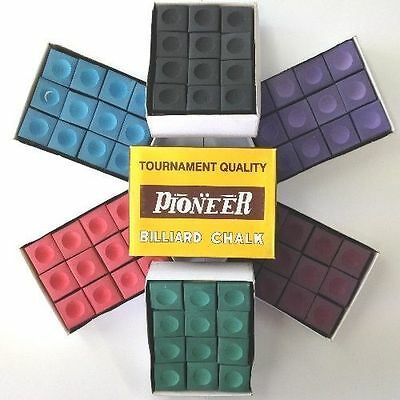 Pioneer Snooker or Pool Cue Chalk from £1.58 a box (7) ! 12-144- Various Colours