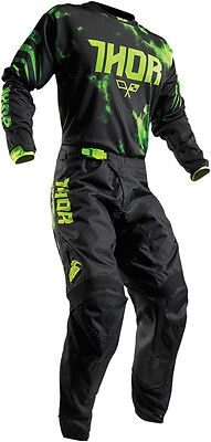 Thor Lime Green/Black Youth Pulse Tydy Dirt Bike Jersey & Pants Kit Combo 2017