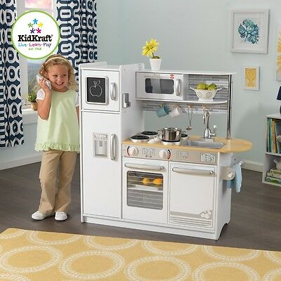 KidKraft 53364 Uptown Preschool Cook Pretend Kitchen Kitchen White Age Range 3+