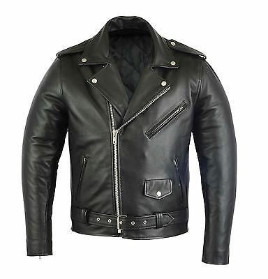 Brando Genuine Leather Waterproof Jacket Coat Motorcycle Motorbike Bikers