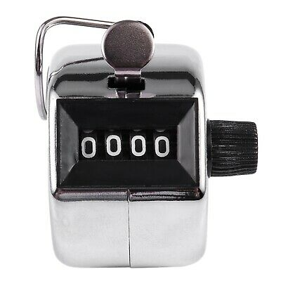 Silver stainless metal 4 Digit Number Clicker Golf Hand Tally Click Counter AD