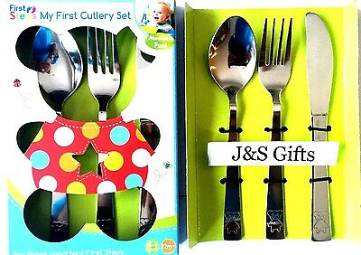 2 x My Baby First Cutlery Set 3pc Knife Fork Spoon Stainless Steel Baby Kids