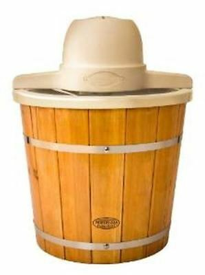 Vintage Collection 4-Quart Wooden Bucket Electric Ice Cream Maker