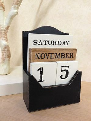 Vintage Wooden Block Perpetual Calendar Retro Chic Rustic Any Year / Month / Day