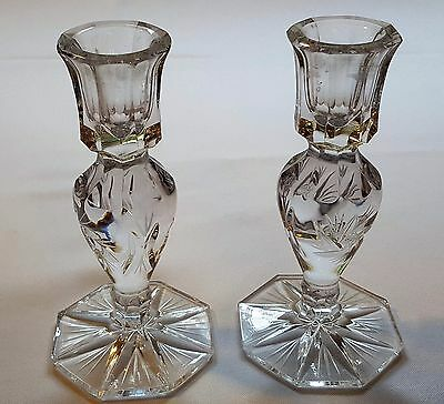 2 PCs Clear Lead Crystal Candle Holder