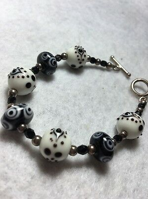 """Old Vintage Antique Small 7"""" Sterling Silver Toggle Clasp Art Glass Bracelet"""