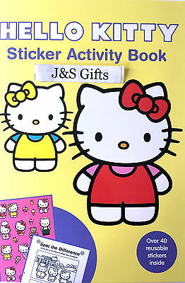Hello Kitty Sticker Activity Book Over 40 reusable Stickers Word Search -Yellow