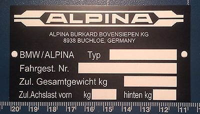 ALPINA `BMW CARS` CHASSIS PLATE, MAGNETIC SIGN: 95mm X 50mm